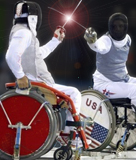 Wheelchair fencing bout